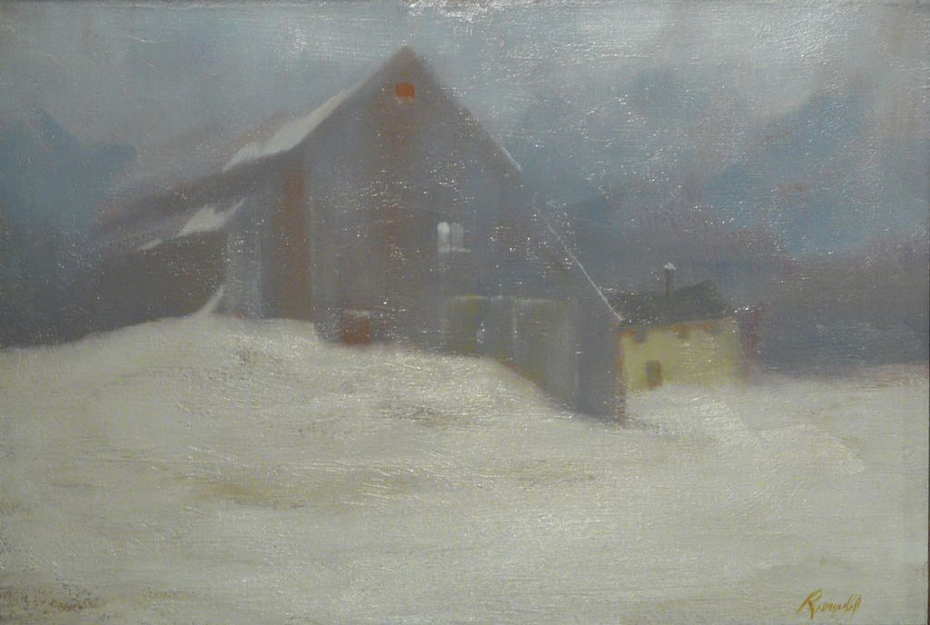 Gilbert Riswold Oil Painting Winter Landscape The Snow Fall