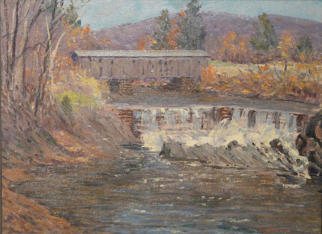Harry Leslie Hoffman Oil Painting Covered Bridge Saxton's River Vermont