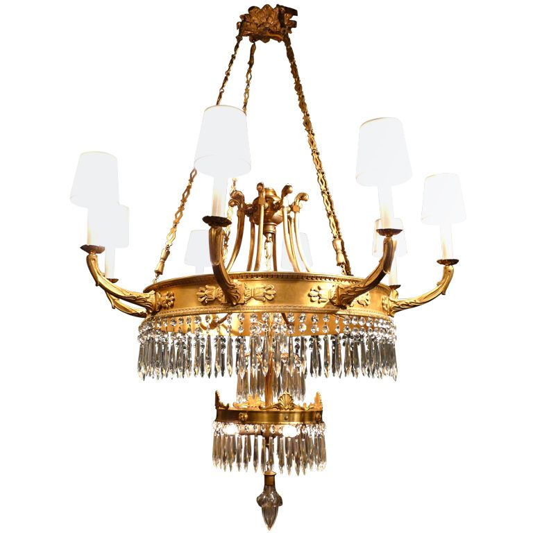Swedish Gilt Bronze Chandelier c. 1940