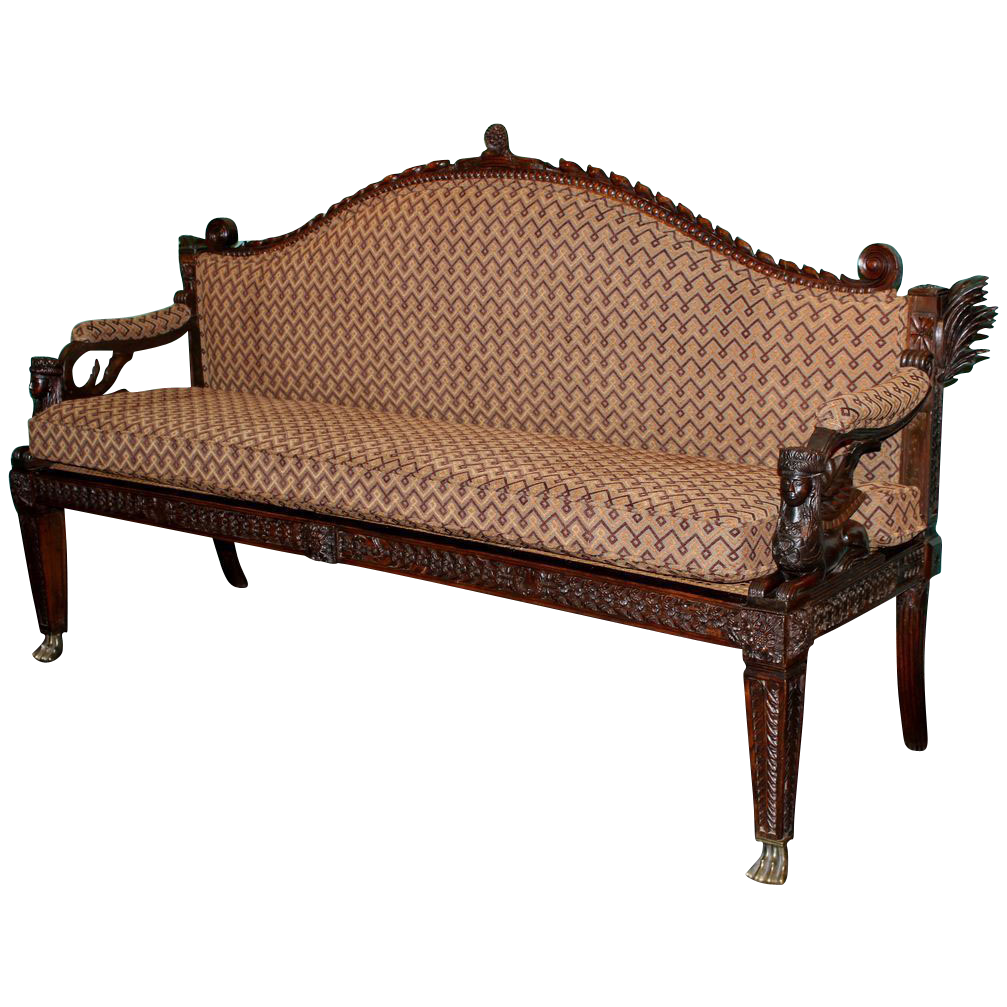 19th c. Anglo Indian Carved Wooden Settee