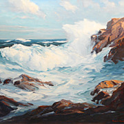 Roger Curtis Oil Painting Surf & Rocks Seascape MA