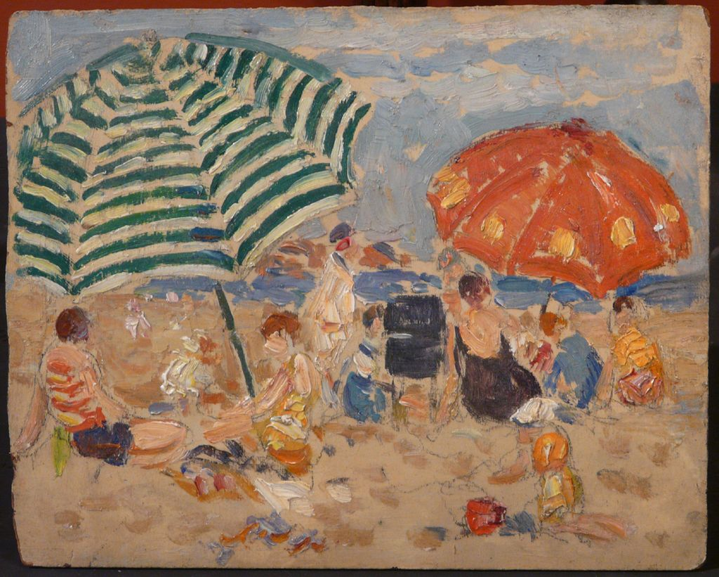 Gifford Beal Oil Painting Coastal Beach Scene with Umbrellas
