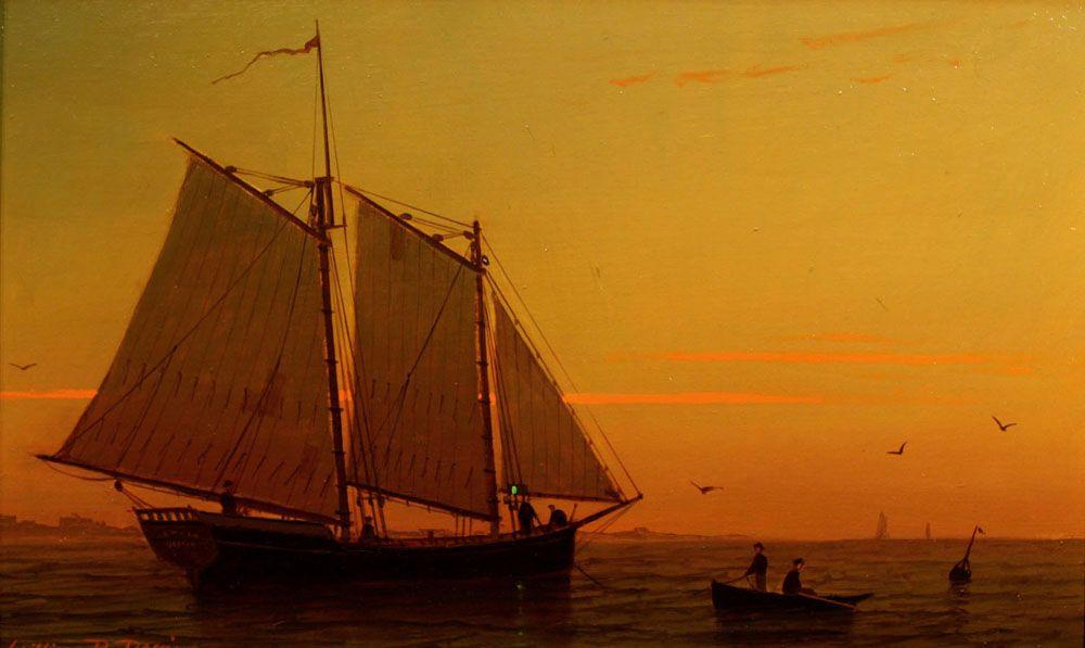 """William R. Davis Oil Painting """"Preparing to Moor"""" Marine Seascape"""