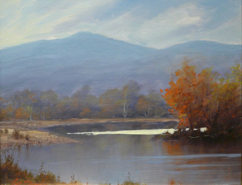 William R Davis Oil Painting Bend On The Saco River Nh
