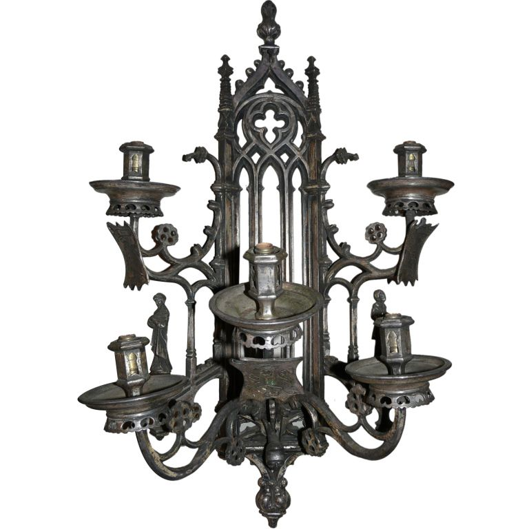 Gothic Wall Sconces: Gothic 5-Arm Sconce From Nhantiquecoop On Ruby Lane