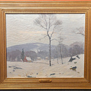 Antonio Cirino Oil Painting Farm Scene in Winter