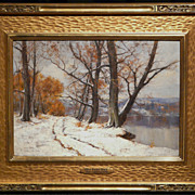Olive Parker Black Oil Painting Winter Landscape with Lake