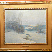 Ernest Albert A.N.A. Oil Painting Winter Landscape The Day's End