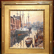 Emile Albert Gruppe Oil Painting Boats Docked in Harbor