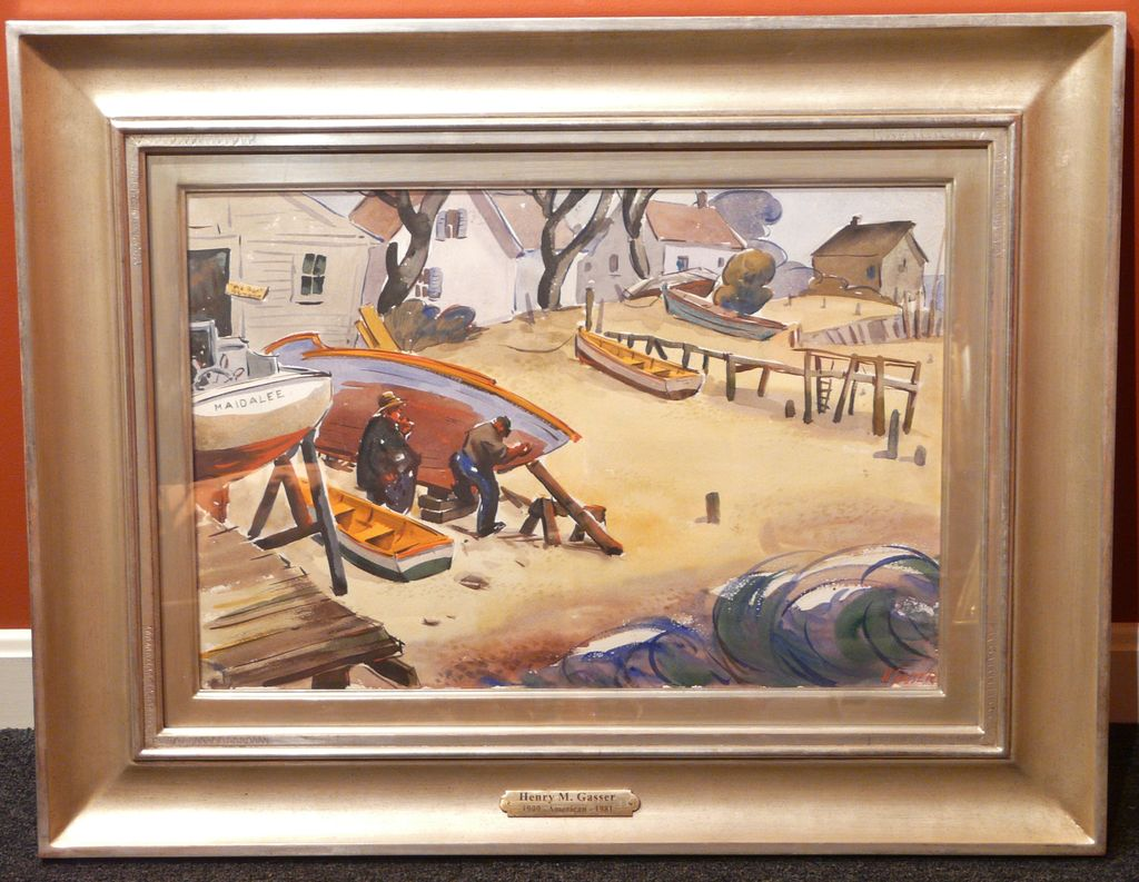 Henry Martin Gasser Watercolor Gouache Painting of Boats