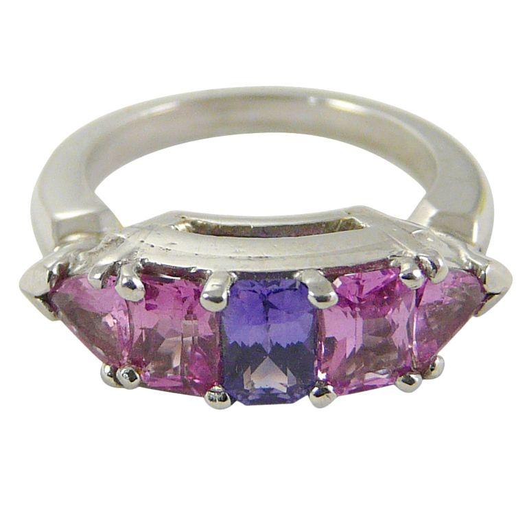 Pink & Purple Sapphire Platinum Ring c. 1940