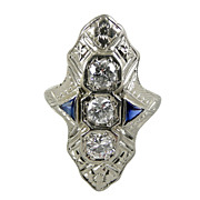 Art Deco Diamond & Sapphire 18K White Gold Ring c. 1920