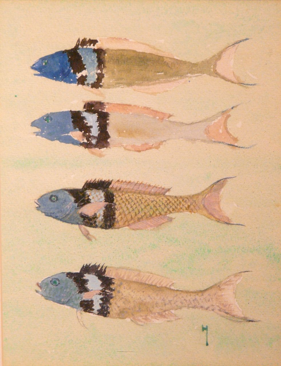 Harry Leslie Hoffman Watercolor of Four Fish