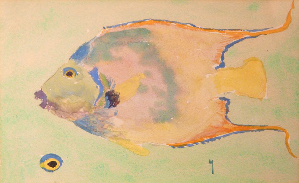Harry Leslie Hoffman Watercolor of a Fish