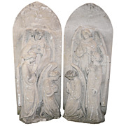 19th c. Carved Caan Limestone Angel Sculptures from London Church
