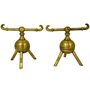 19th c. Christopher Dresser Pair of Art Nouveau Brass Andirons