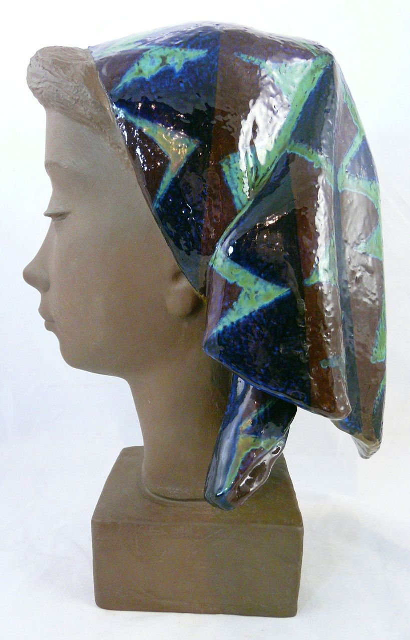 Johannes Hedegaard for Aluminia Sculpture of Woman with Scarf