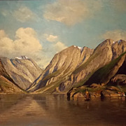 Georg A. Rasmussen Oil Painting Norwegian Fjord