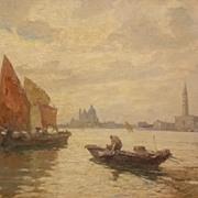 Eugenio Bonivento Oil Painting Italian Harbor Scene