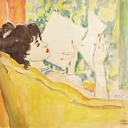 "Karl Larsen Watercolor Painting of a Woman ""The Letter"""