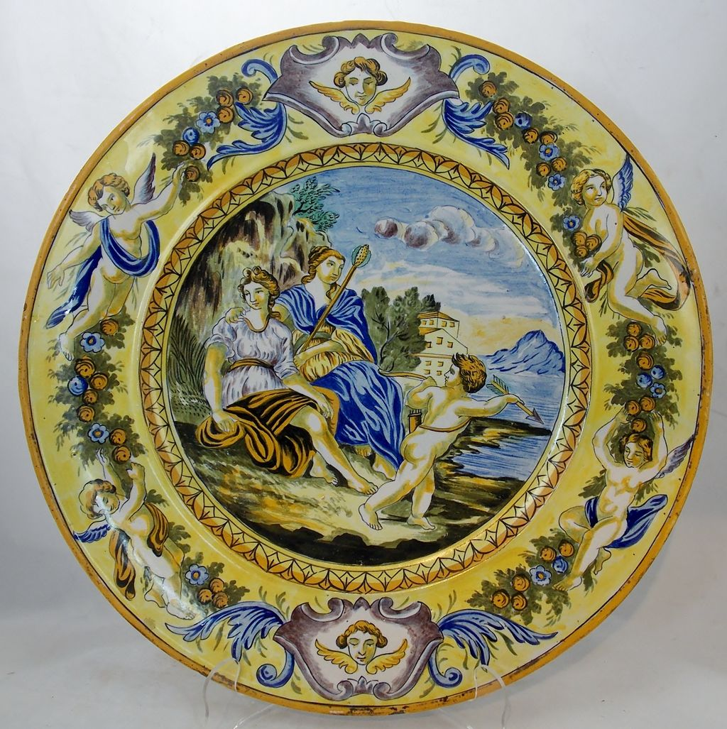 19th c. Italian Pottery Charger with Romantic Scene & Putti