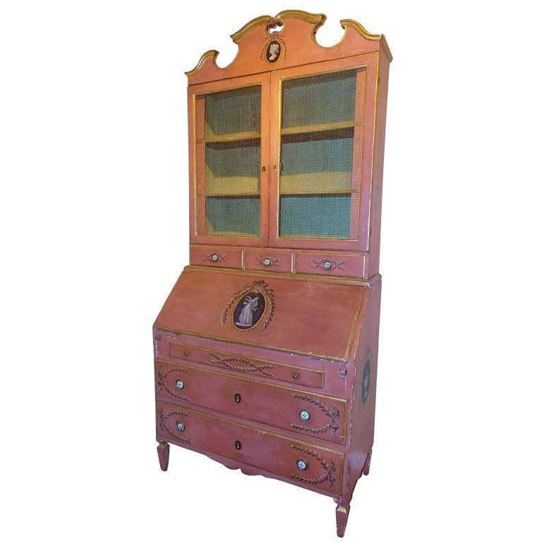 19th c. Italian Painted Secretaire, Desk & Bookcase