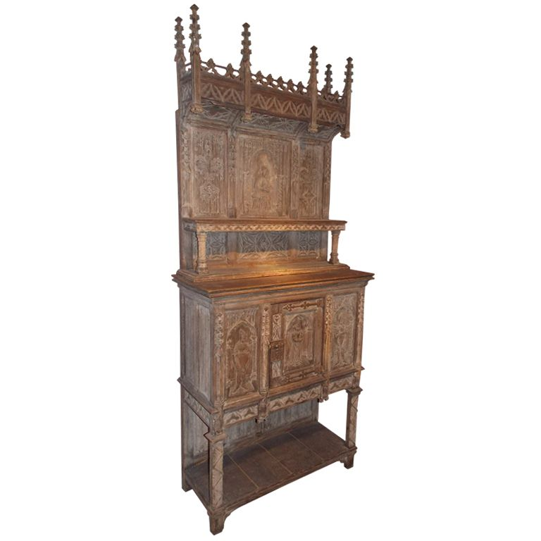 19th c. French Gothic Revival 2-Part Cupboard