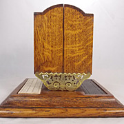 19th c. English Oak & Brass Cribbage Board & Card Case