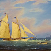 "William R. Davis Marine Oil Painting ""Heading Out"""
