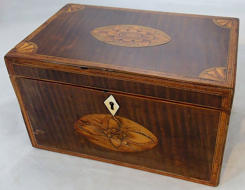 19th c. Mahogany Tea Caddy with Floral and Fan Inlay