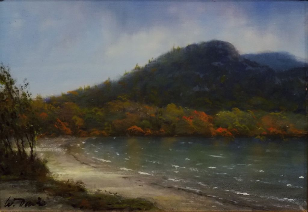 "William R. Davis Oil Painting ""Windy Day, Echo Lake""  Franconia, NH"