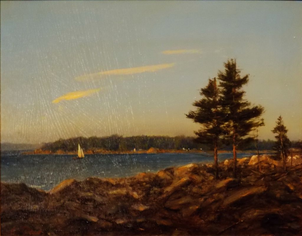 "William R. Davis Oil Painting ""View from Ocean Point,  Boothbay, ME"""