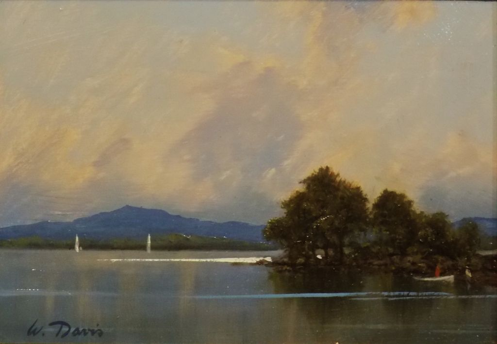"William R. Davis Oil Painting ""White Mountain Lake"" NH"