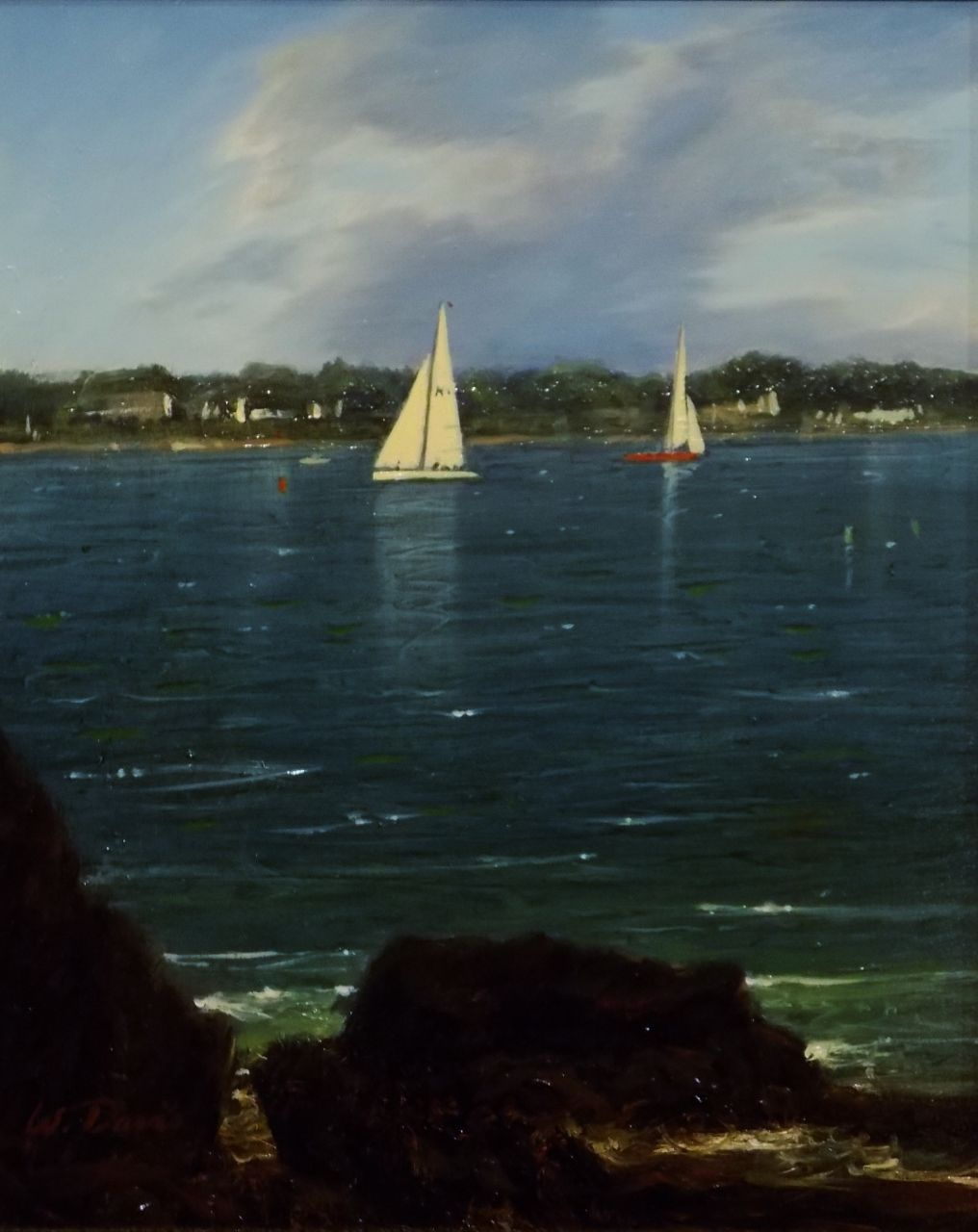 "William R. Davis Oil Painting ""Yachts Racing off Jamestown, RI"""