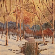 "Oil Painting Winter Forest Landscape Signed ""Sisson"""