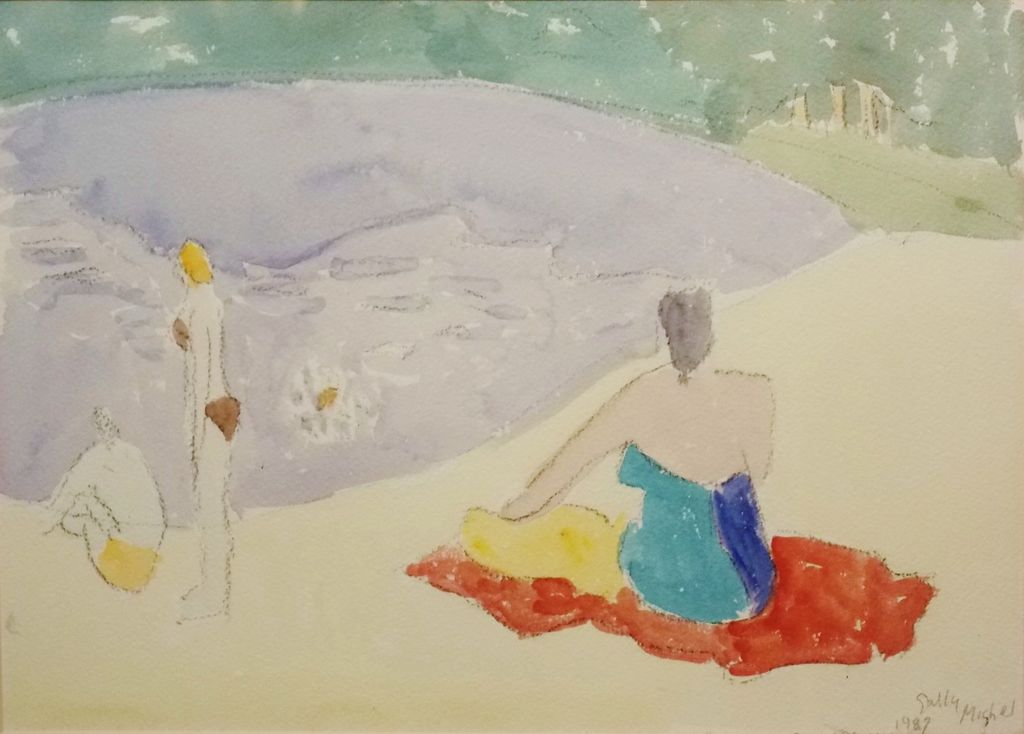 "Sally Avery Michel Watercolor Painting ""Bathers"" 1987"
