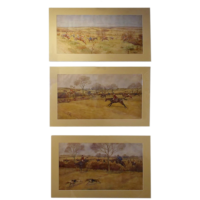 "E. Blocaille ""Pytchley Hunt"" English Hunting Watercolors"