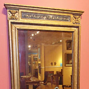 19th c. Classical Mirror Gilded with Rosettes & Beaded Trim