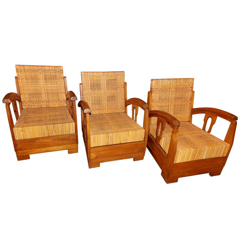 Three 1930's French Lounge Chairs,  in the Style of Francis Jourdain