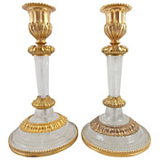 Rock Crystal and Ormolu Candlesticks