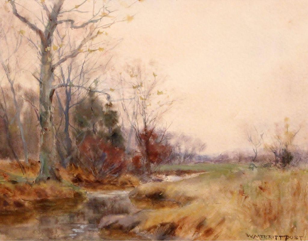 "William Merritt Post Watercolor ""Grey Weather"" Landscape Painting"