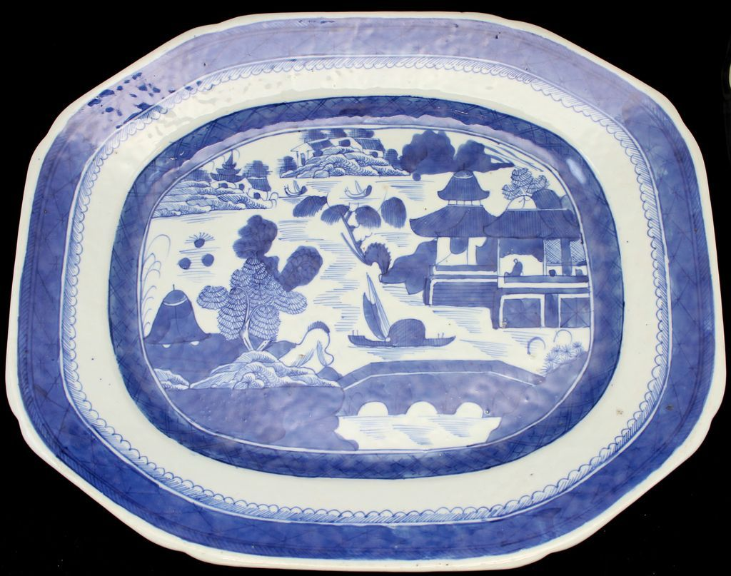 "Chinese Porcelain Canton 17"" Platter, circa 1840"