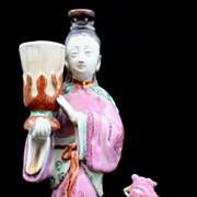 Early 19th c. Chinese Porcelain Figural Group Lady & Bird