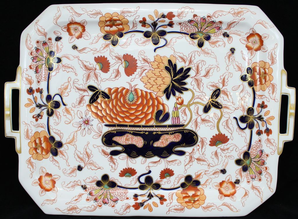 Coalport English Porcelain Large Rectangular Tray or Platter, circa 1810