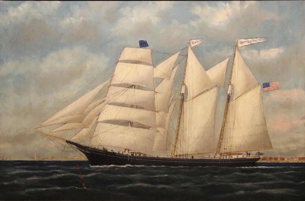 "William Pierce Stubbs Oil Painting Ship ""George W. Sweeney"""