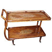 Mid-Century Aesthetic Copper & Brass Inlaid Tea or Bar Cart