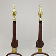 Early 19th c. Pair of Chippendale Knife Blade Andirons