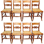 Set of Eight New England Tiger Maple Chairs, early 19th century