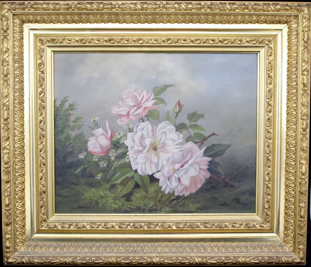Victorian Still Life Oil Painting of Peonies