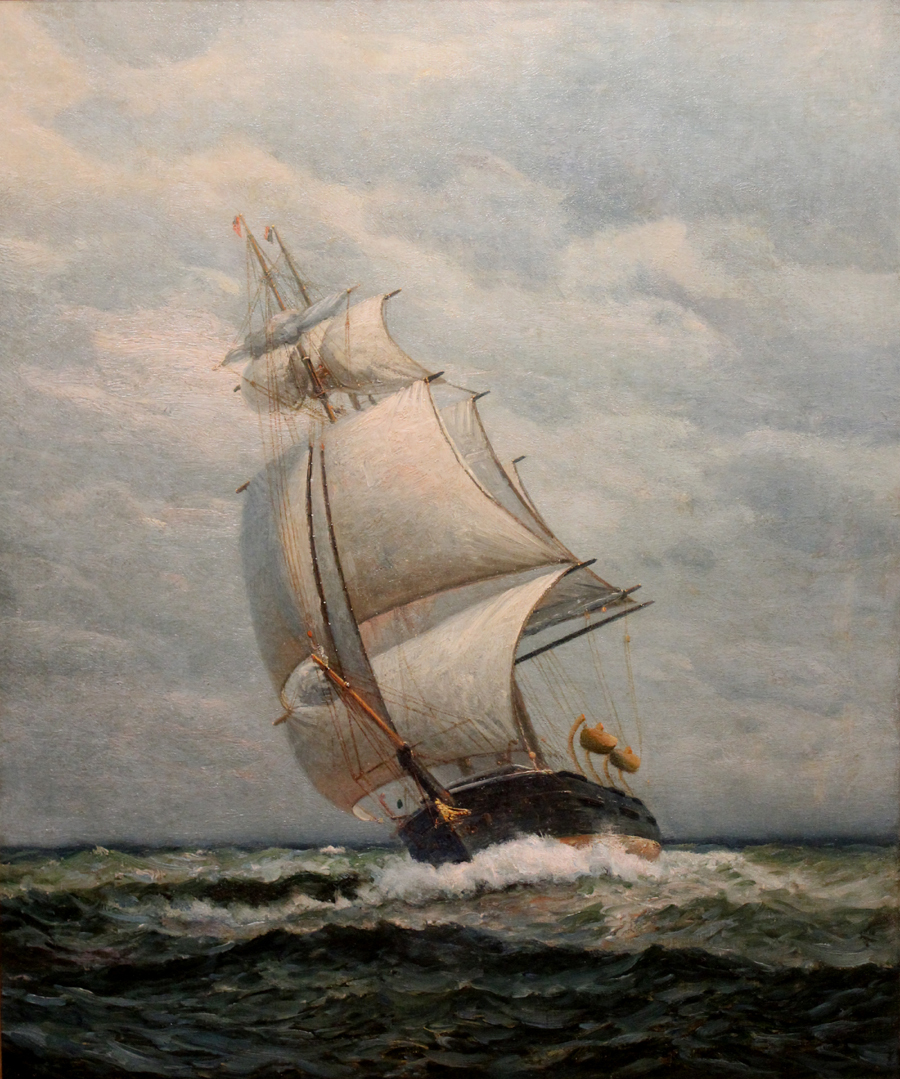 James Gale Tyler Oil Painting Ship at Full Sail